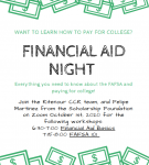 Financial AID Night – THIS EVENING – 10/1/20