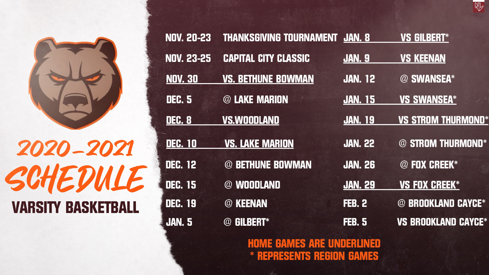 Varsity basketball schedule