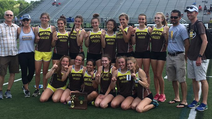 Boys' and Girls' Track and Field Teams Compete in District Championship. Girls' win first team title in school history!