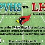 CIF Football Championship Game: Palos Verdes vs Lawndale 11/23 @ 7:00pm