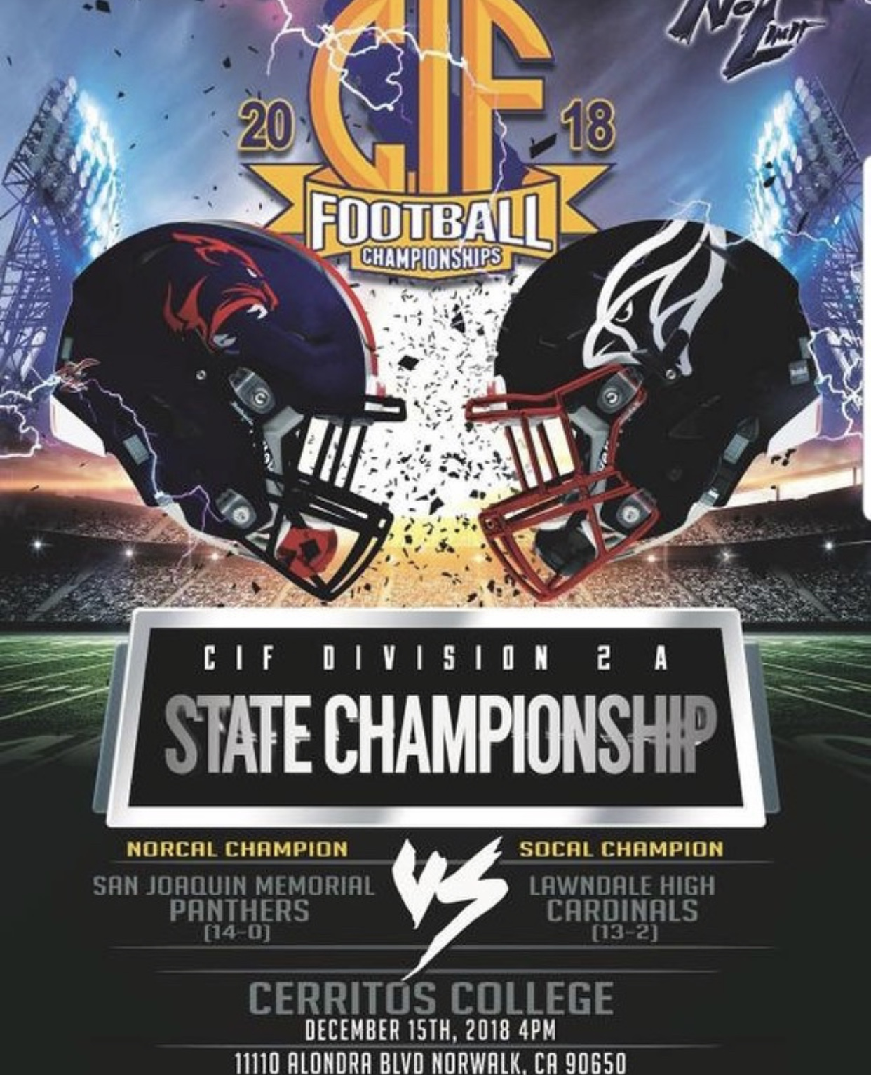 CIF State Championship Football Game: Saturday, 12/15 at 4:00pm @ Cerritos College