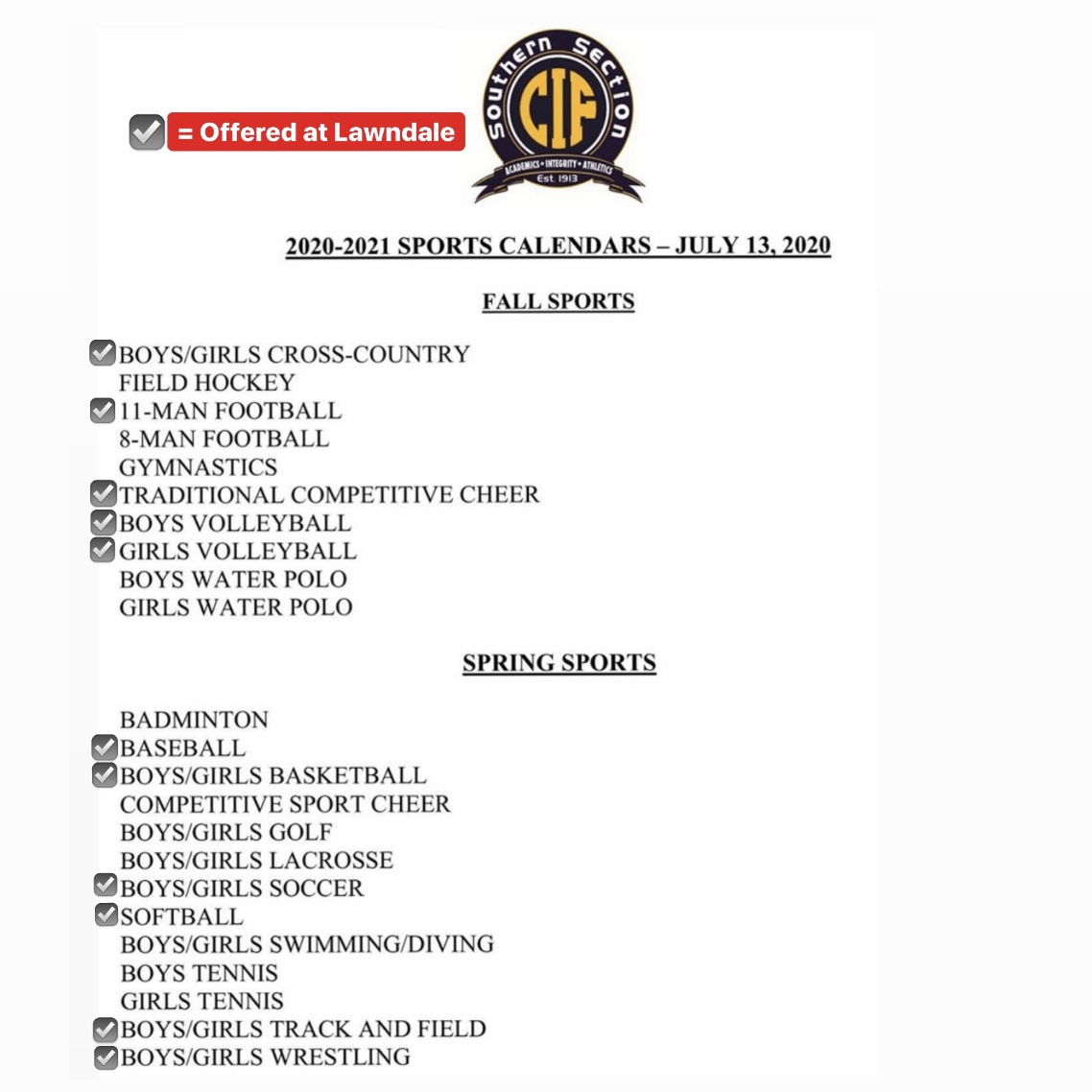 IMPORTANT UPDATE: CIF Sports Calendar