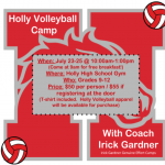 Volleyball Camp hosted at Holly HS