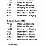 Schedule for Dickson Softball Festival April 13-14 in Dickson