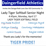 Lady Tiger Softball Senior Night Scheduled For This Evening