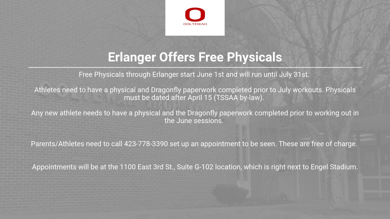 Free Sports Physicals at Erlanger