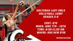 Lady Owls Volleyball Summer Camp Information