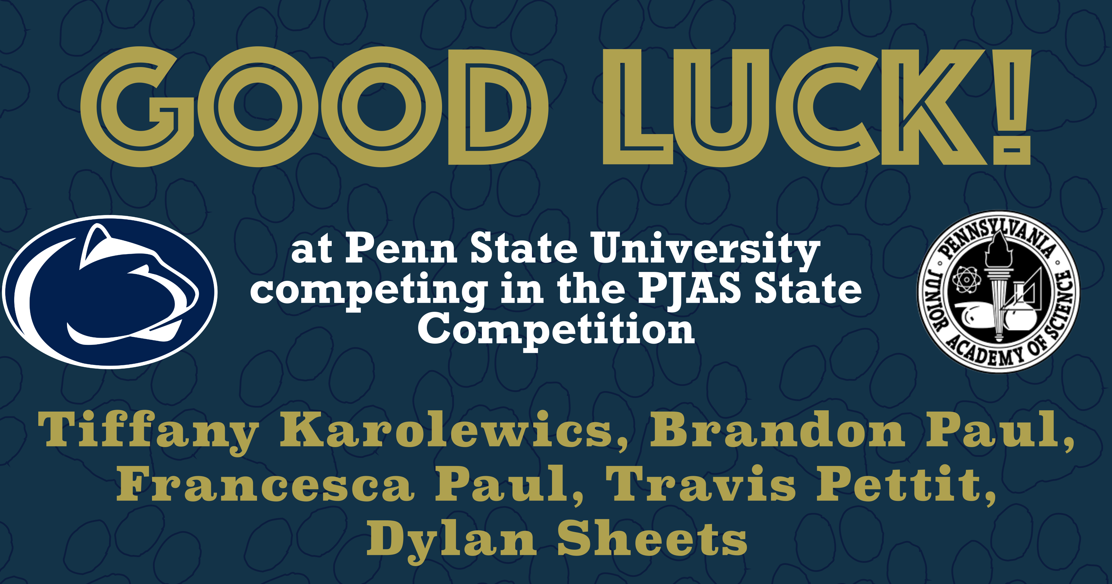 GOOD LUCK AT THE PJAS STATE COMPETITION!