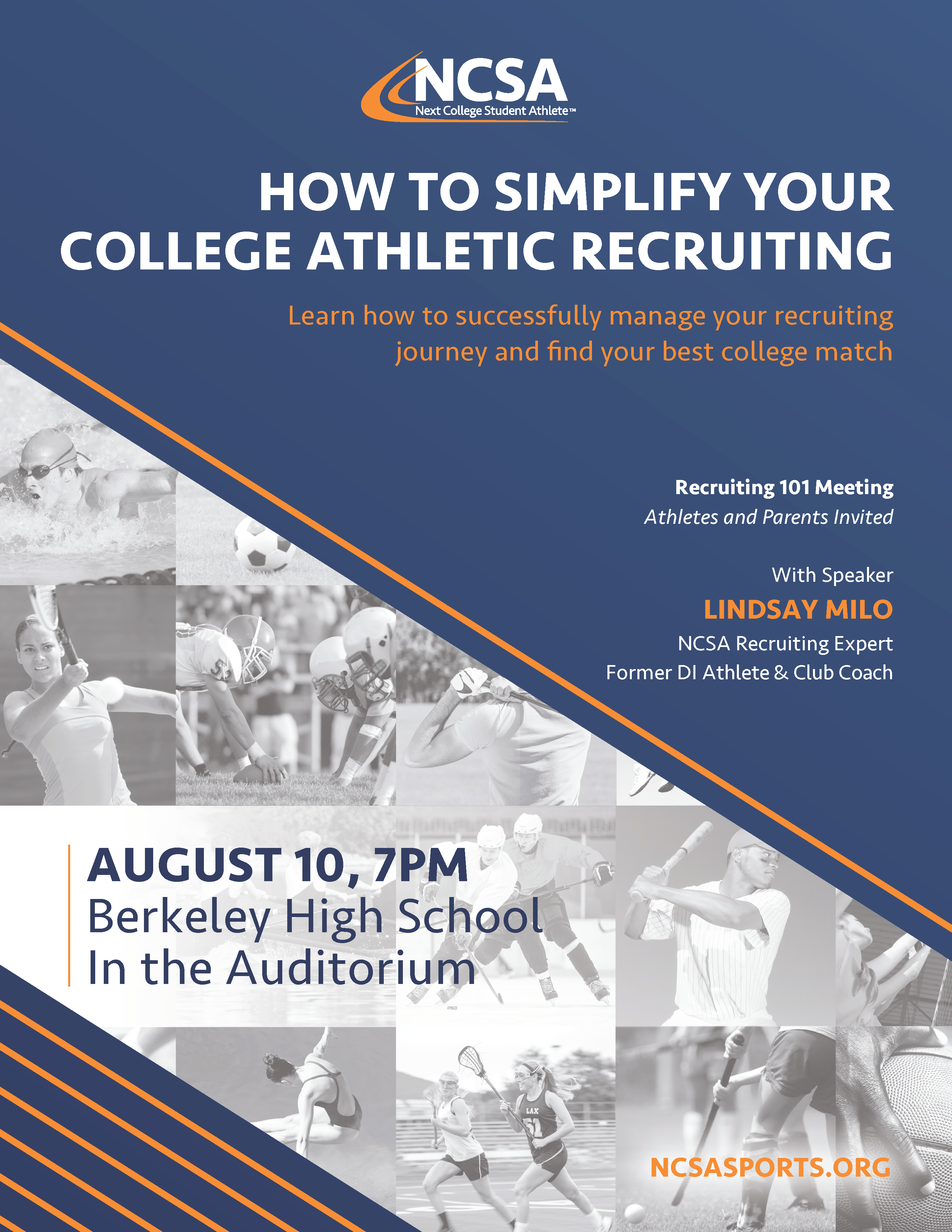 Want to play college sports? Join our recruiting education event w/ Lindsay Milo from @ncsa to learn about college recruiting.
