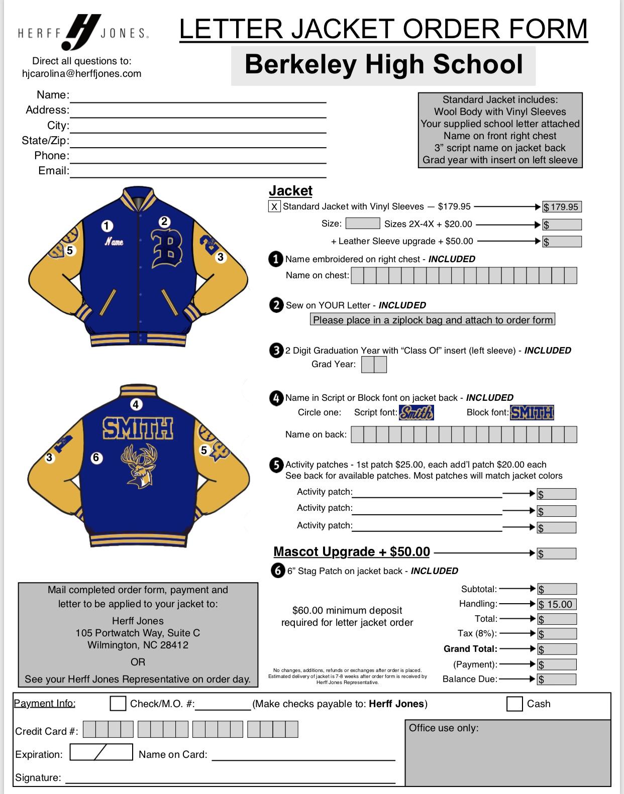 Berkeley High School Letterman's Jacket Info