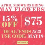 From April 28th to May 25th @ 11:59pm EST get 15% off an order of $75 or more