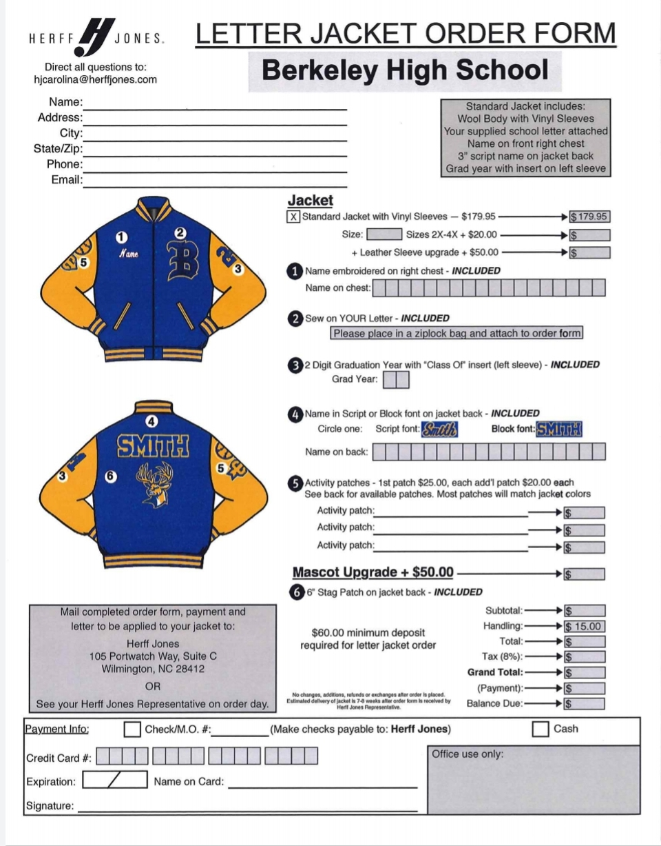 Order Your Letter Jacket Tuesday!!