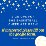 Tryouts for BHS Basketball Cheer!