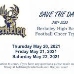 Berkeley High School Football Cheer Tryouts 5/20 – 5/22!