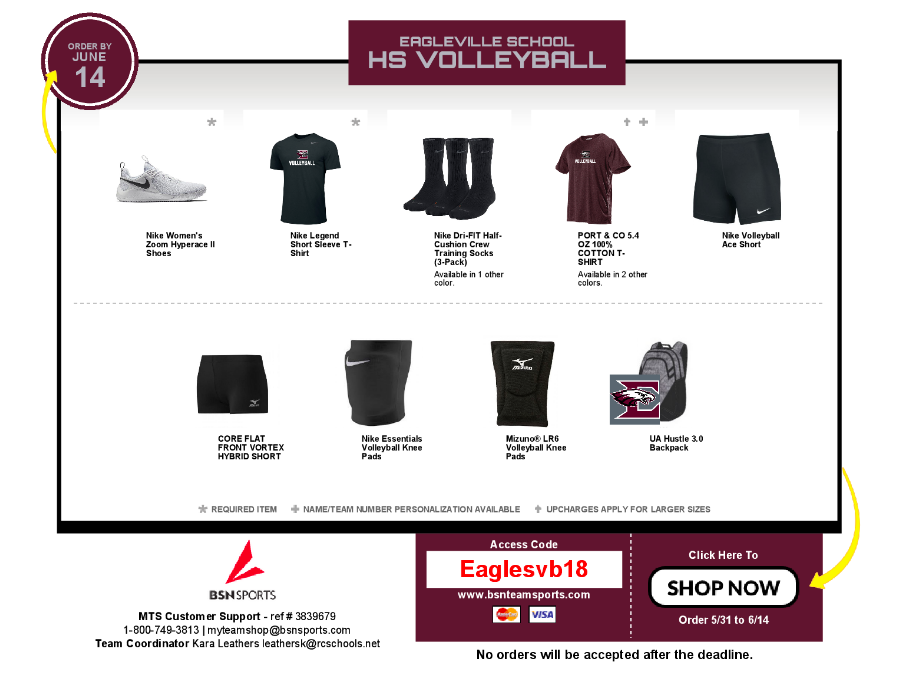 Order from the HS Volleyball Store by June 14th