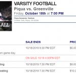 Football Pre-Sale Tickets: Piqua vs. Greenville (Sr. Night)