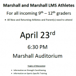 Athletic Family Meeting- April 23rd @ 6:30pm!