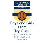 Middle School Boys and Girls Basketball Try-Outs Postponed 10/24 -10/25