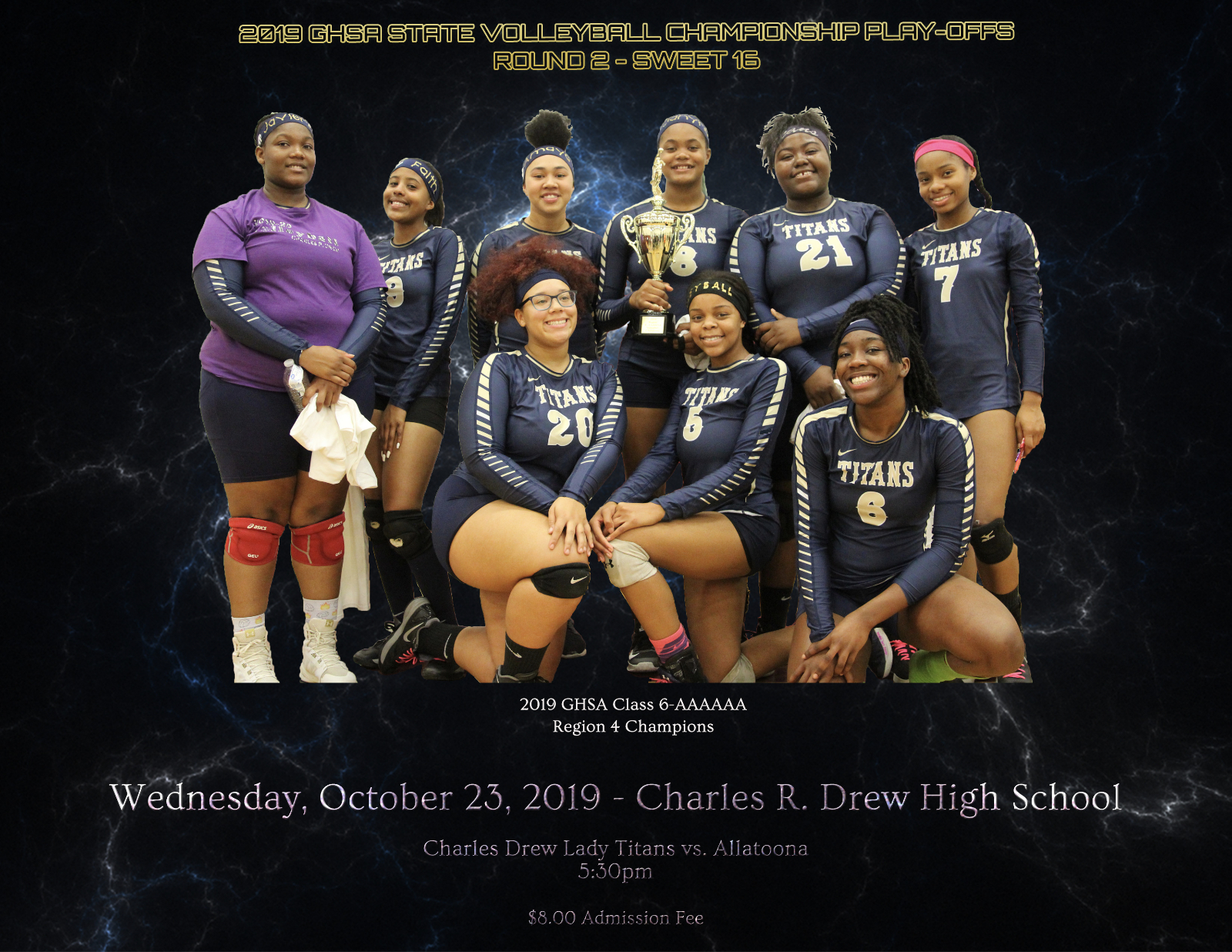 Lady Titans Varsity Volleyball Team Advances To The 2nd Round of the GHSA State Volleyball Tournament With Win Over Brunswick