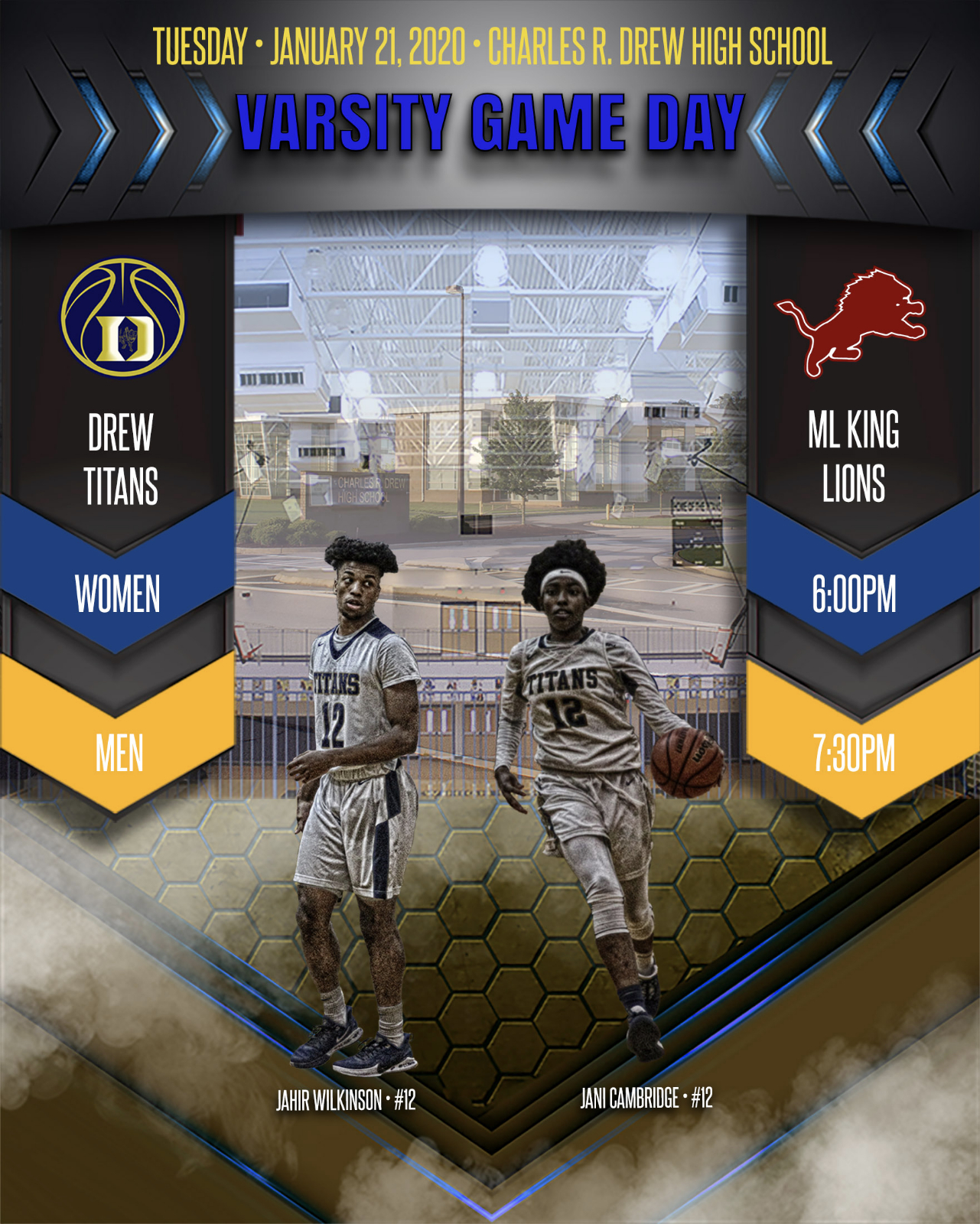Gameday – Men's and Women's Varsity Basketball teams to host M.L. King this evening