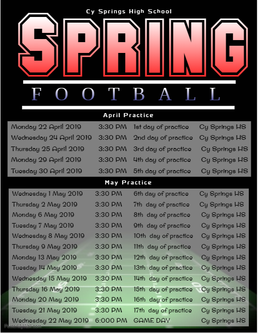 2019 Spring Football Schedule