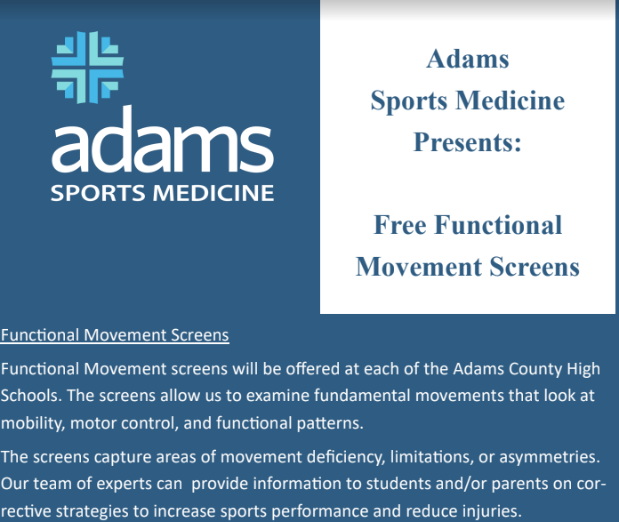 Adams Memorial to Provide Functional Movement Screenings at AC