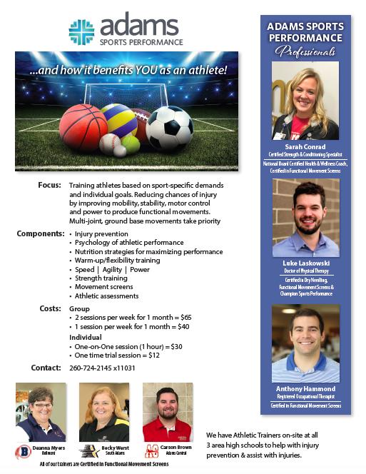 Adams Memorial Sports Performance Opportunities