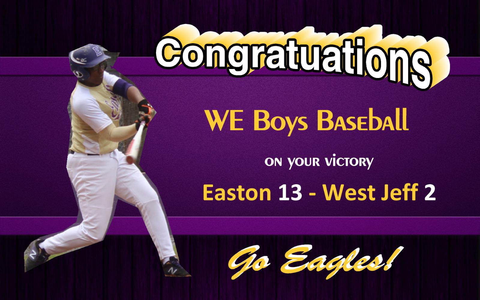 Eagles Baseball Defeats West Jeff