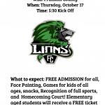 Community Pep Rally – Thursday Oct 17 beginning at 5:30p FCHS