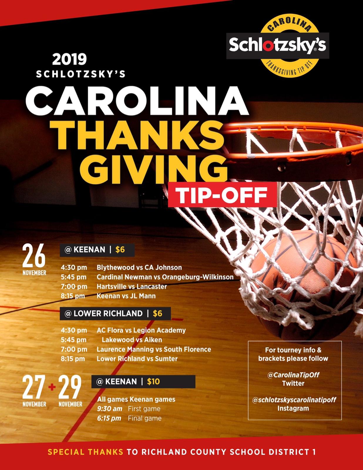 Schlotzky's Thanksgiving Tourney Updated Schedule