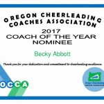 Challenger Cheer Coach receives Coach of the Year Nomination