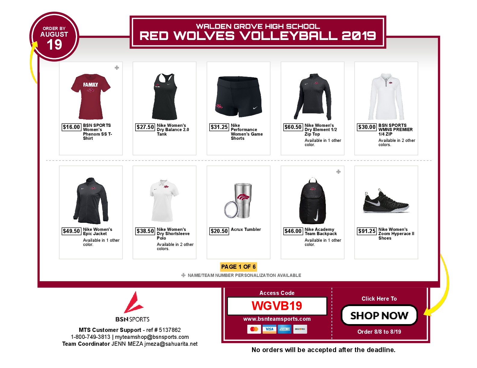 Order Volleyball Gear before 8/19!