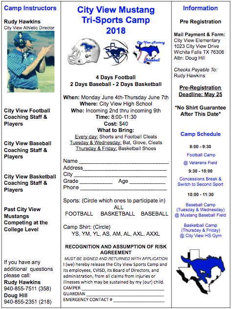 City View Mustang Tri-Sports Camp 2018
