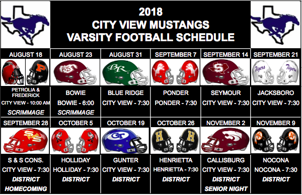 City View Football Schedule Released