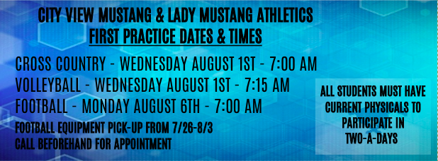 City View Mustang & Lady Mustang Important Dates