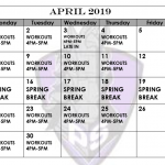Iron Horse Football April Calendar