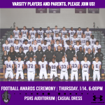 2020 Varsity Football Awards Ceremony Is Set!