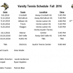 Lanier Tennis Fall Schedule