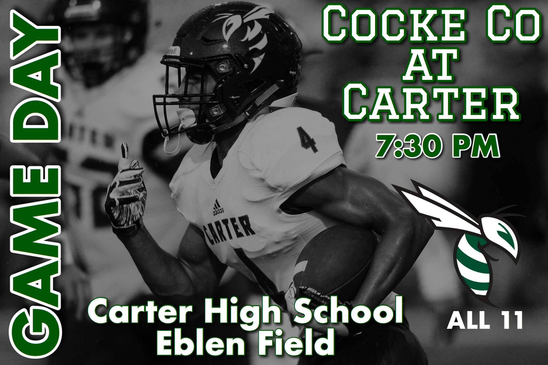 Football Home Opener is Tonight, kickoff at 7:30pm.