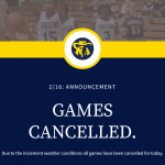 Games/Practices Cancelled for: 2/16/21