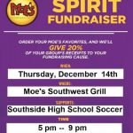 Soccer Fundraiser at Moe's Southwest Grill Dec. 14th.