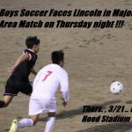 Boys Soccer Faces Lincoln in Key Area Matchup  Thursday Night