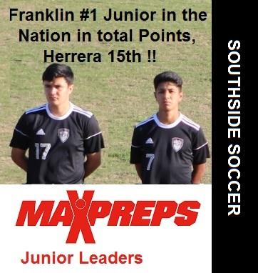 Franklin Named #1 Junior Scorer in the Nation, Herrera ranked 15th.