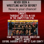 HOME WRESTLING MATCH THURSDAY, JAN. 9