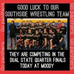 Wrestling Team Competing in The Dual State Quarter Finals Thursday @ Moody