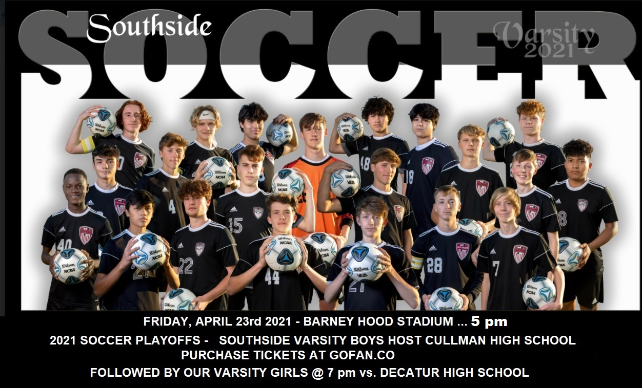 SOUTHSIDE SOCCER HOSTS CULLMAN AND DECATUR TONIGHT !!