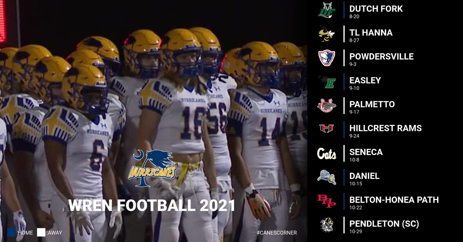 2021 Wren Golden Hurricanes Football Schedule Release