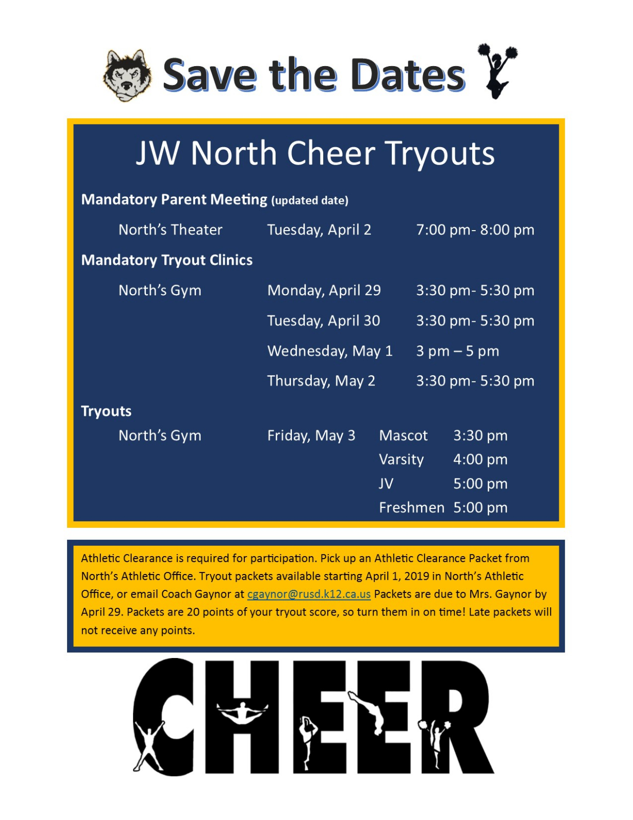 JW North Cheer Tryouts