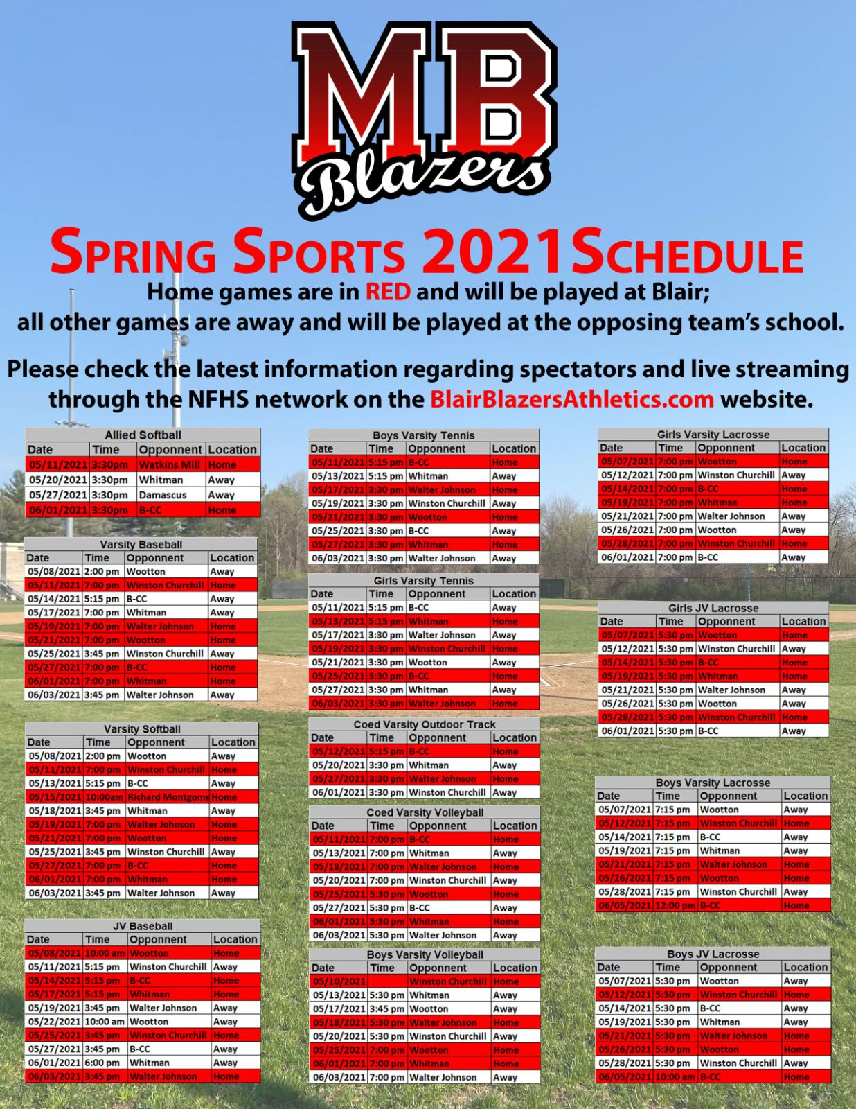 Blazers Spring 2021 Sports Schedule!