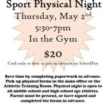 Sports Physical Night is May 2nd!